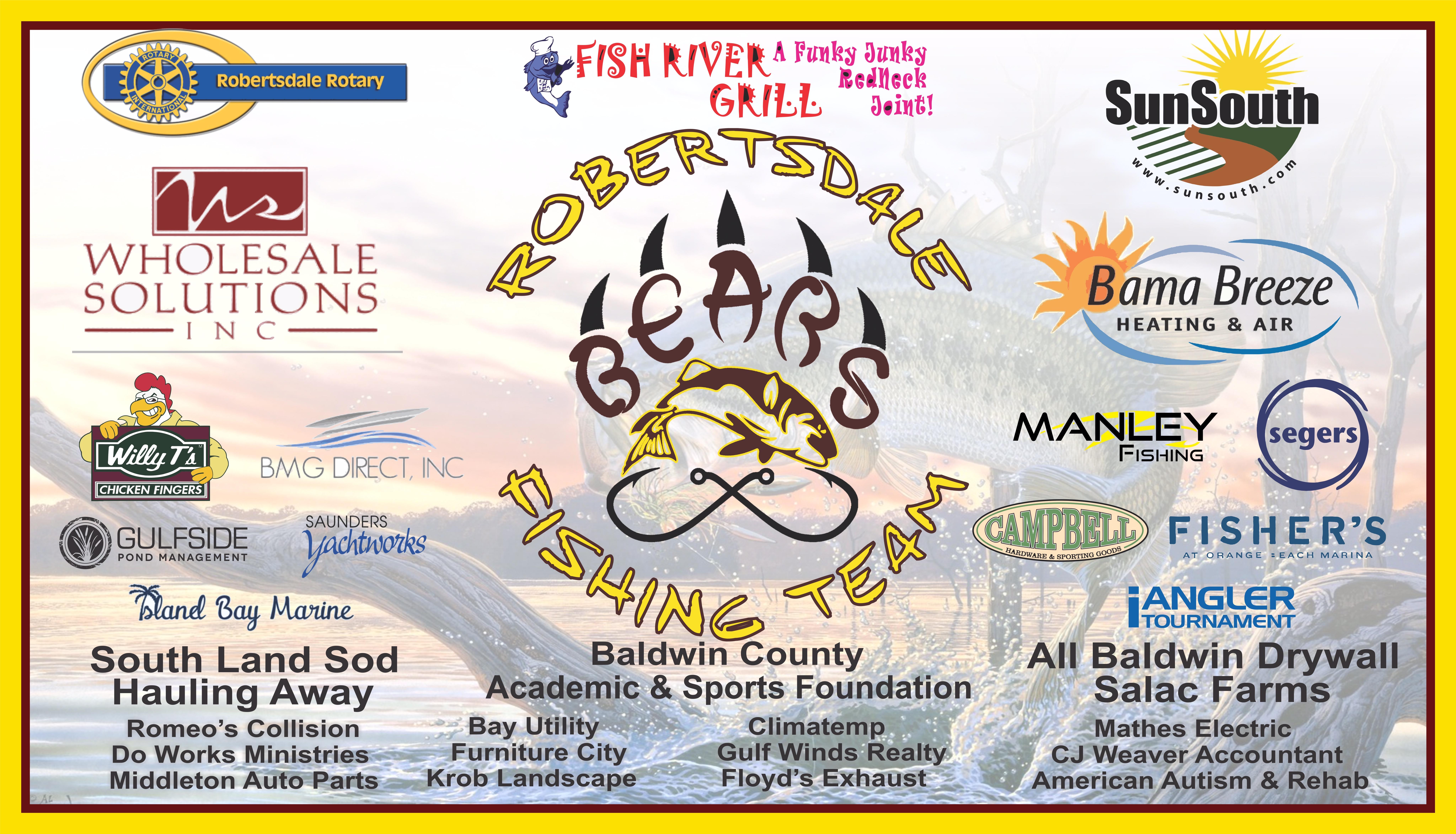 Robertsdale HS Fishing Team - 2017 Sponsors